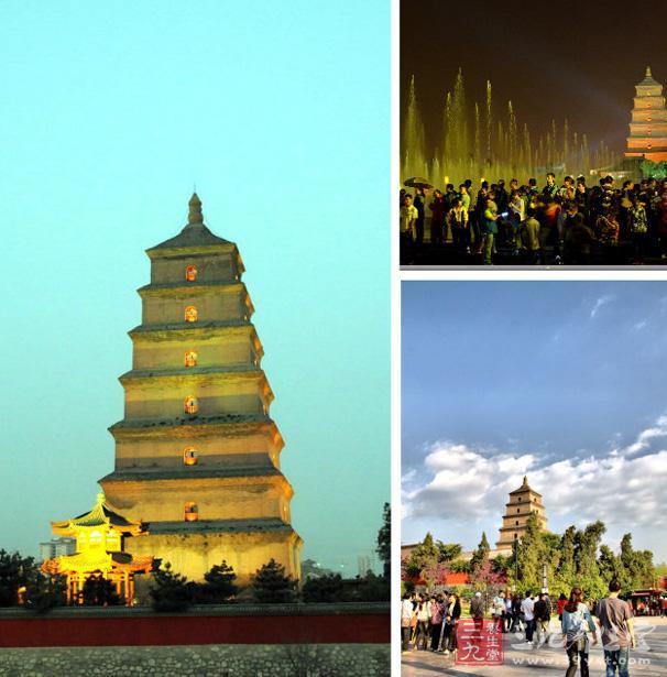 大雁塔是一座楼阁式砖塔,塔高64余米,塔基边长25米,共有七层