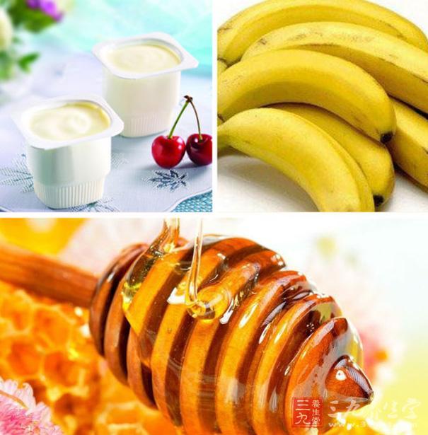清肠的酸奶香蕉蜂蜜