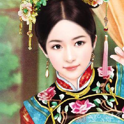 清朝美妃子手绘