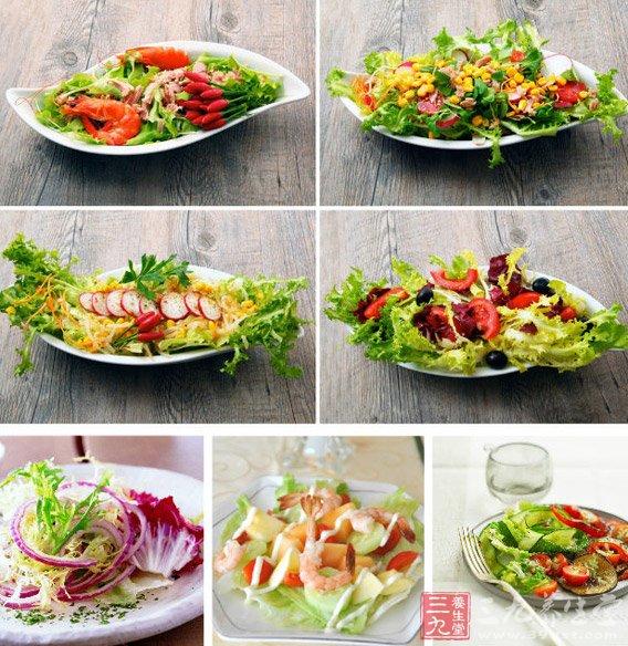 能量分析:原本能量密度很低的蔬菜、水果在沙拉酱的包裹下能量翻着跟头直线上升。拌一盘沙拉基本上至少需要50克沙拉酱,如果追求口感,希望呈现出每片蔬菜都被沙拉酱包裹的效果的话,那么一盘沙拉大致就需要拌入100克左右的沙拉酱了。这100克的沙拉酱本身的能量比同等重量的猪大肠的能量还要高出三倍!