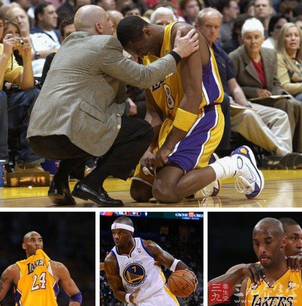 """科比连续赛季报销致使湖人沉沦   科比去年4月份在同勇士一役中遭遇严重的脚踝跟腱断裂,随后宣布赛季报销,经过近8个月的恢复,科比于2013年12月重新回到了赛场,不过本赛季复出后仅打了六场篮球比赛,科比便因膝盖伤病再度休战,当时湖人官方给出的缺阵时限为6周,不过由于伤势恢复不利,北京时间3月13日,科比再次遗憾的宣布赛季报销。   本赛季湖人在缺少科比之后已""""堕落""""至一支""""屌丝战队"""",成绩一落再落总在西部倒数一二位徘徊,曾经辉煌的紫金军团如今却如此黯淡,"""