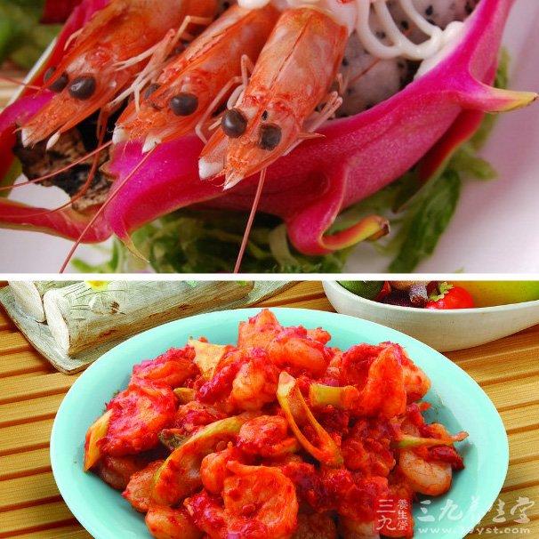 1、虾营养丰富,含蛋白质是鱼、蛋、奶的几倍到几十倍;还含有丰富的钾、碘、镁、磷等矿物质及维生素A、氨茶碱等成分,且其肉质松软,易消化,对身体虚弱以及病后需要调养的人是极好的食物;   2、虾中含有丰富的镁,镁对心脏活动具有重要的调节作用,能很好的保护心血管系统,它可减少血液中胆固醇含量,防止动脉硬化,同时还能扩张冠状动脉,有利于预防高血压及心肌梗死;   3、虾的通乳作用较强,并且富含磷、钙、对小儿、孕妇尤有补益功效;   4、日本大阪大学的科学家近发现,虾体内的虾青素有助于消除因时差反应而产生的&l