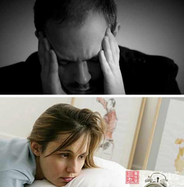 失眠,多为入睡困难、早醒、睡眠不踏实、易做噩梦、易惊醒。这与大脑皮质功能紊乱及自主神经功能失调有关。