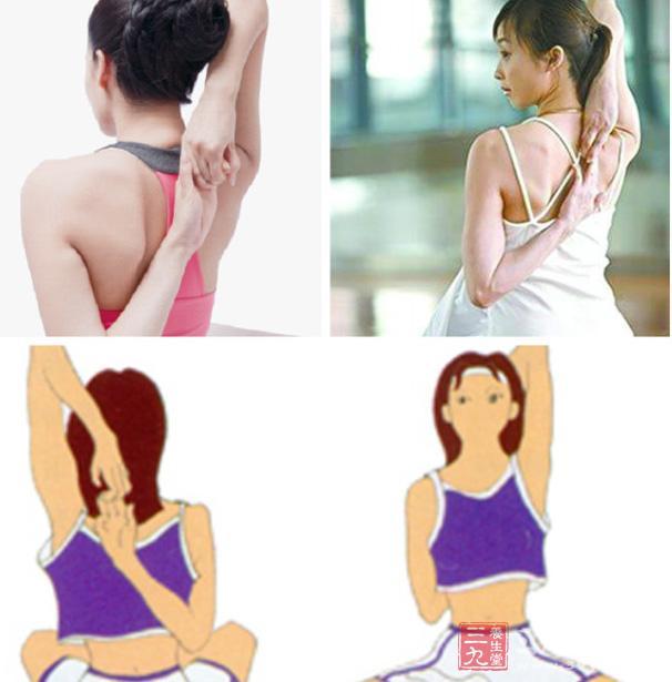 奶子操爽_效果:让胸肌具有弹性,通畅淋巴液    姿势三:肩背扣式乳房保健操